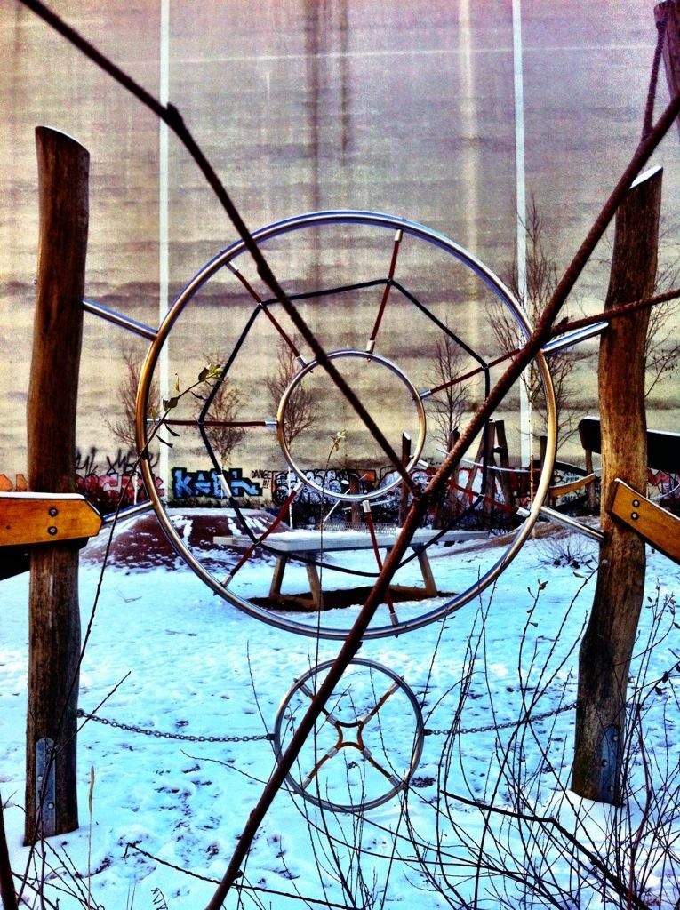 Berlin playground in winter