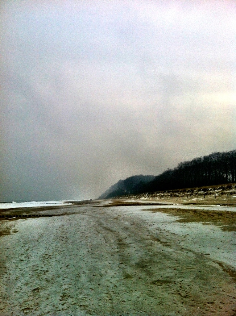 beach at bansin in the winter